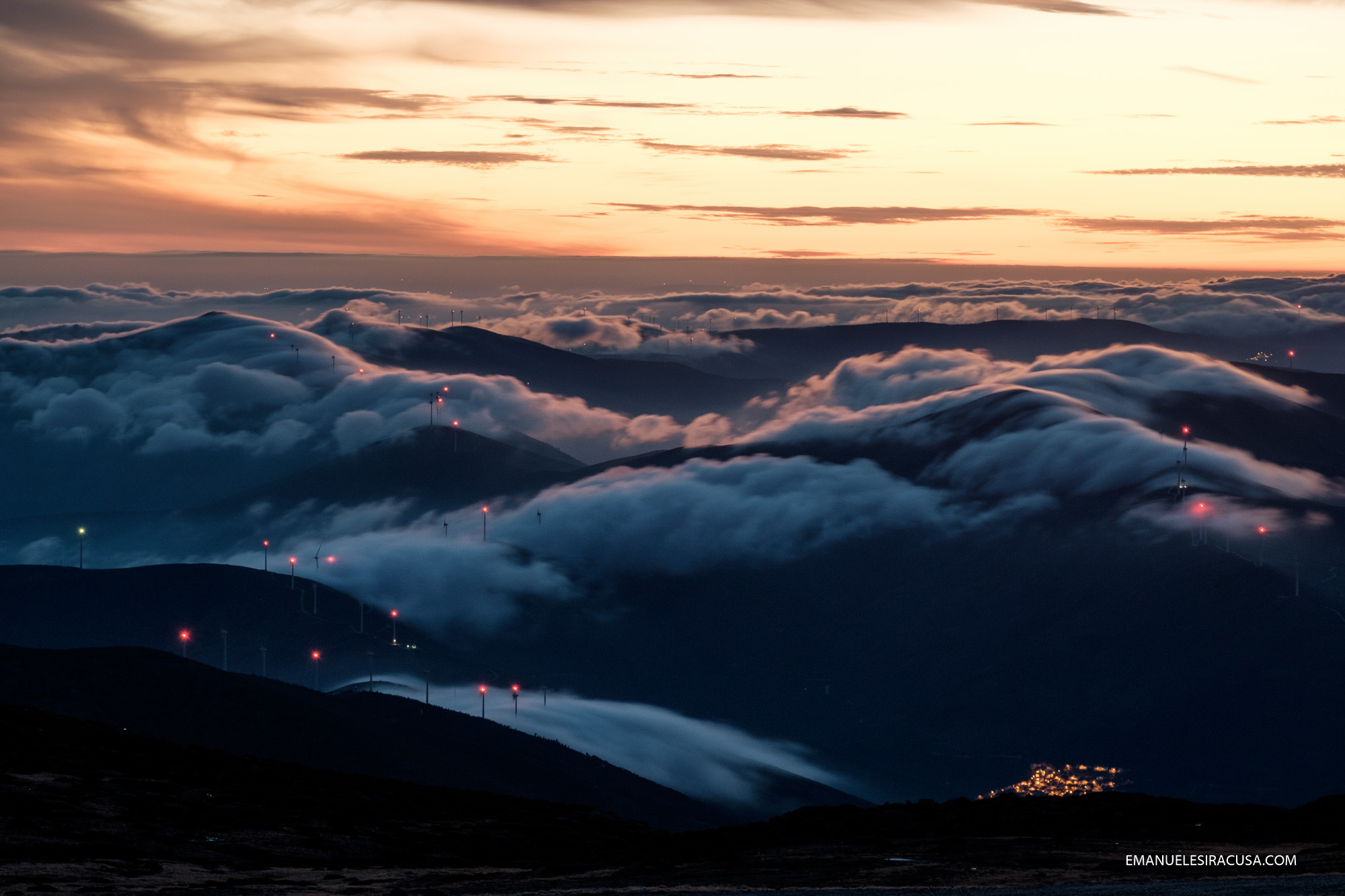 The view from Torre, the top of Serra da Estrela, at about 2000 meters, at twilight.